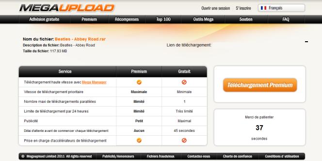 Une page de téléchargement sur le site MegaUpload.