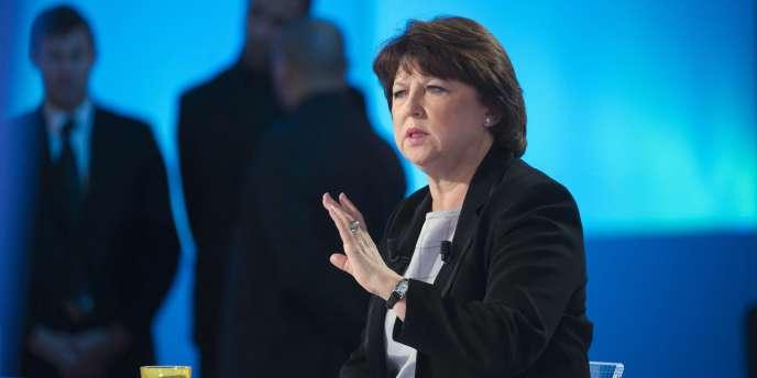 Martine Aubry, première secrétaire du Parti Socialiste, sur le plateau du Grand Journal le 24 janvier.