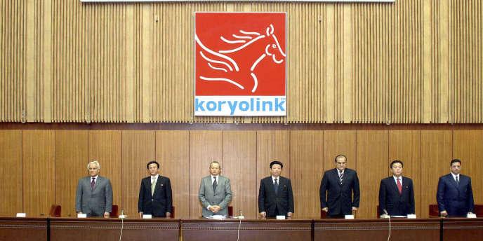 Les responsables d'Orascom, lors de l'inauguration du réseau de téléphonie 3G en Corée du Nord, en décembre 2008.
