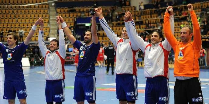 L'équipe de France de handball après sa victoire contre l'Islande le 25 janvier.