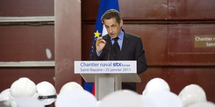 Nicolas Sarkozy lors d'un discours aux Chantiers navals de Saint-Nazaire, le 25 janvier.