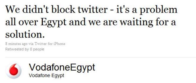 La compagnie Vodafone confirme un blocage de Twitter en Egypte.