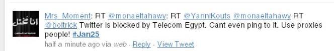 Twitter bloqué en Egypte.