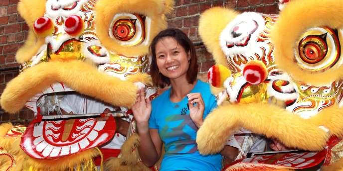 Moment de détente pour Na Li dans le quartier Chinois de Melbourne, le 25 janvier, peu après sa victoire en quarts de finale de l'Open d'Australie.