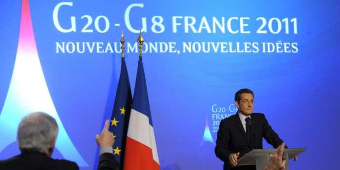 Nicolas Sarkozy lors d'une conférence sur ses projets pour le G20, à Paris, le 24 janvier 2011.