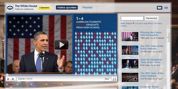La chaîne YouTube de la Maison Blanche.