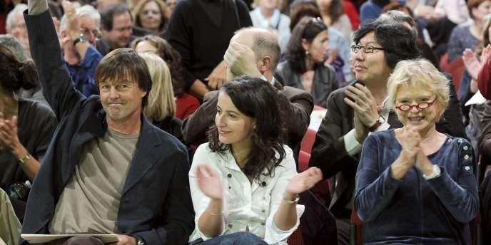 Nicolas Hulot, Cécile Duflot, Eva Joly lors de la fondation d'Europe Ecologie-Les Verts, à Lyon, en novembre 2010.