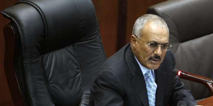 Le président du Yémen, Ali Abdallah Saleh, au Parlement de Sanaa, le 2 février 2011.