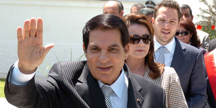 L'ancien président Zine El-Abidine Ben Ali, sa femme, et son gendre, Mohamed Sakhr El-Materi, en mai 2010.