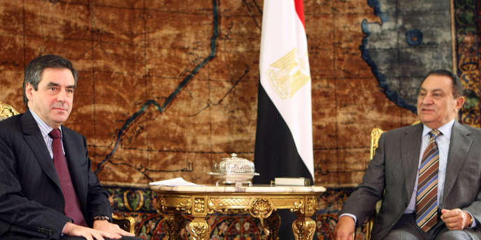 François Fillon en compagnie du président Hosni Moubarak lors d'une visite officielle en Egypte, en décembre 2008.