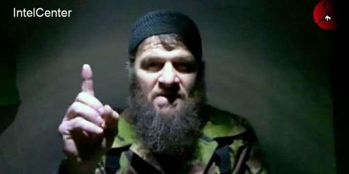 Dokou Oumarov dans la vidéo diffusée lundi 7 février sur le site Kavkazcenter.com.