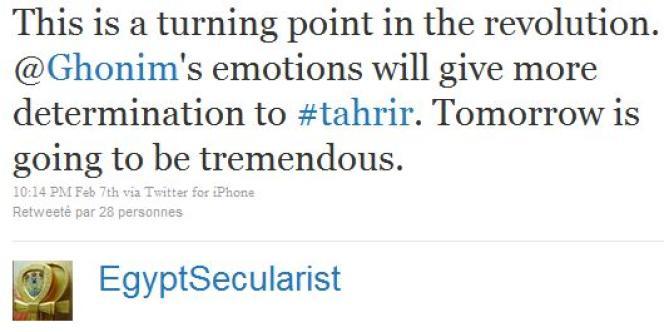 Tweet d'EgyptSecularist