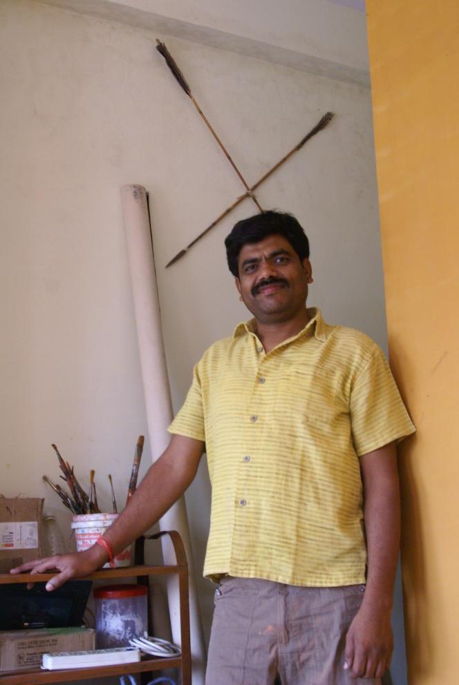 Bhajju Shyam, dans son atelier