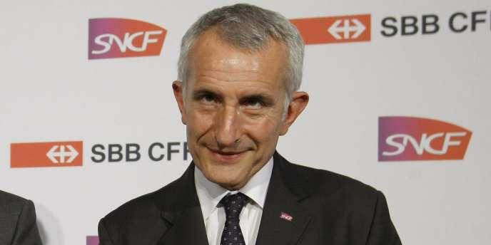 Le patron de la SNCF, Guillaume Pepy, lors d'une conférence de presse à Paris, le 16 février 2011.
