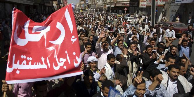 Manifestation antigouvernementale à Sanaa, au Yemen, le 18 février.