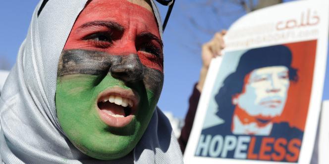 Manifestation anti-Kadhafi, le 19 février devant la Maison Blanche, à Washington.