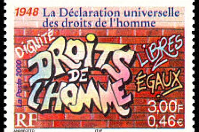 Le timbre du bicentenaire de l'Assemblée nationale, signé Ernest-Pignon-Ernest.