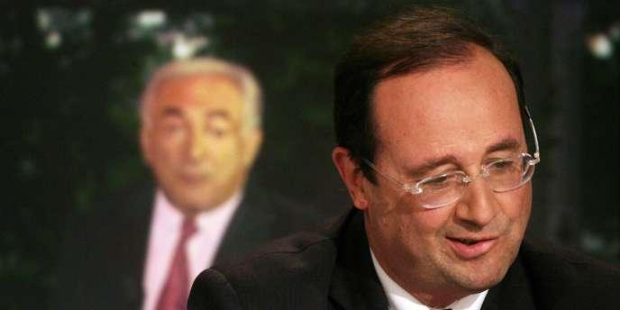 François Hollande réagit à une prise de parole de Dominique Strauss-Kahn, sur le plateau de TF1, le 17 juin 2007, après le second tour des législatives.