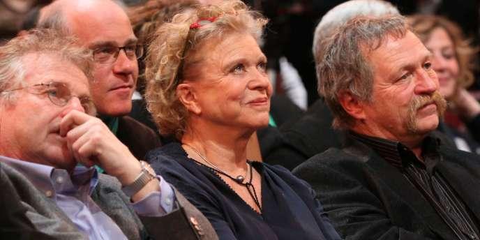 Dany Cohn-Bendit, Eva Joly et José Bové, lors d'un meeting Europe Ecologie pour les régionales de mars.