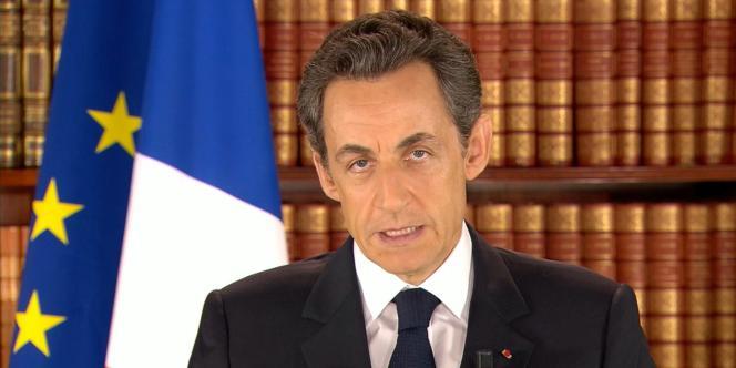 Nicolas Sarkozy lors de son allocution sur les révolutions dans les pays arabes, le 27 février 2011.