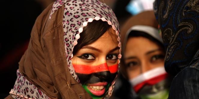 Des opposantes manifestent à Benghazi, dans l'est de la Libye, dimanche 27 février.