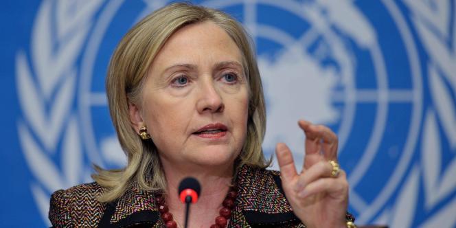 La secrétaire d'Etat américaine lors d'une conférence de presse lundi 28 février devant le Conseil des droits de l'homme des Nations unies.