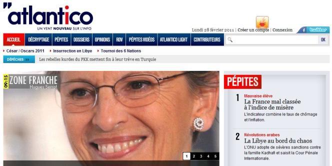 Page d'accueil du nouveau site d'information, Atlantico.