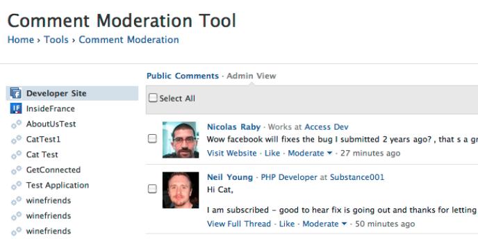 La nouvelle interface de modération des commentaires proposée par Facebook.