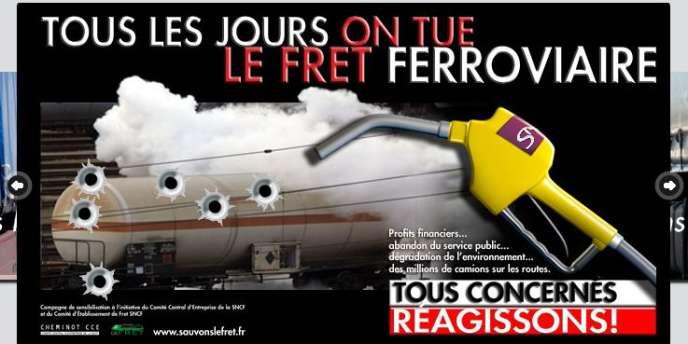 Campagne d'affichage en faveur du fret ferroviaire.