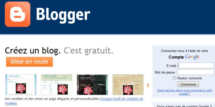 La page d'accueil de Blogger.