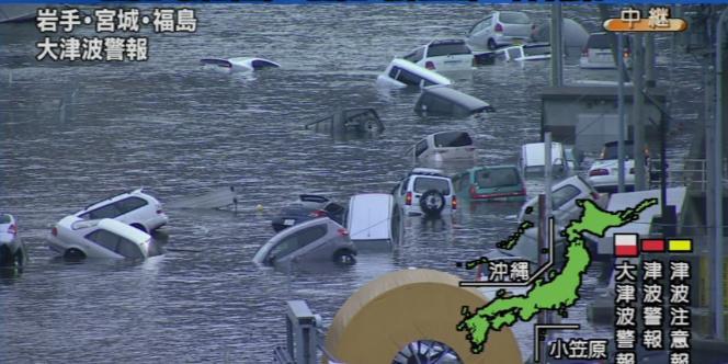 Image du tremblement de terre et du tsunami du 11 mars 2011, dans la préfecture de Miyagi, dans la région de Thoku, au nord du Japon.