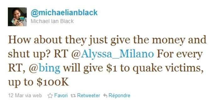 Le comédien américain Michael Ian Black critique la démarche de Microsoft sur Twitter