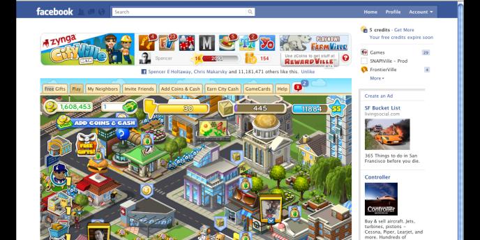 Les crédits Facebook permettent de réaliser des achats de biens virtuels pour les jeux tels que FarmVille ou encore MafiaWars de l'éditeur Zynga. Ici, le nouveau service de Zynga,