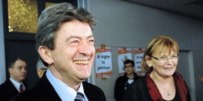 Jean-Luc Mélenchon (Parti de gauche) et Marie-George Buffet (Parti communiste), le 9 février 2011 à Ronchin dans la banlieue lilloise, à l'occasion d'un meeting du Front de gauche.