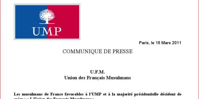 Le communiqué de l'UMP annonçant la création d'une