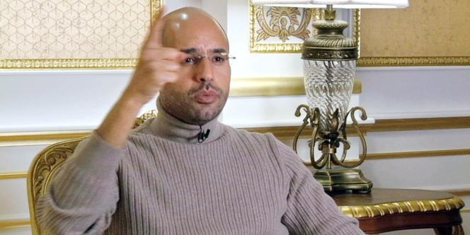 Capture d'écran de l'interview de Saïf Al-Islam Kadhafi, le fils du colonel Kadhafi, à Euronews, mercredi 16 mars.