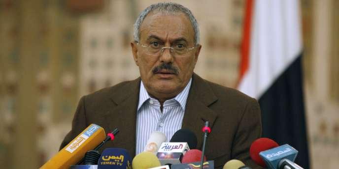 Le président du Yémen, Ali Abdallah Saleh, lors d'une conférence de presse organisée le 18 mars.