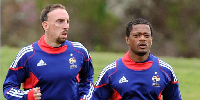 Franck Ribéry et Patrice Evra à Knysna le 21 juin.
