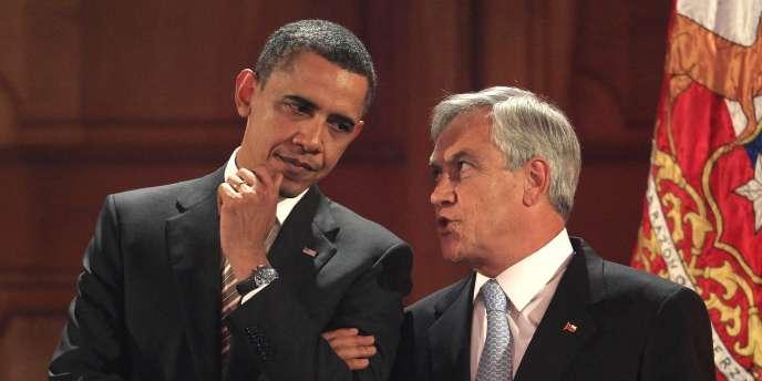 Le président américain, Barack Obama, et son homologue chilien, Sebastian Piñera, au Palais présidentiel de La Moneda, à Santiago, le 21 mars.