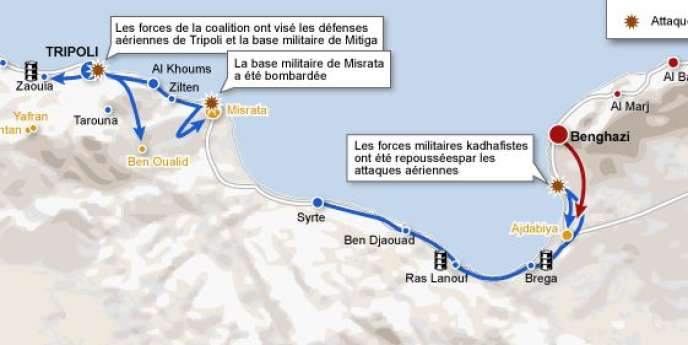 La carte des combats en Libye.