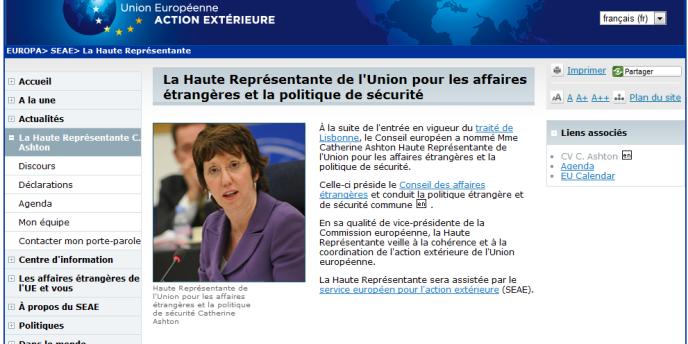 La page de la haute représentante de l'Union pour les affaires étrangères, Catherine Ashton, faisait partie des pages directement visées par l'attaque.