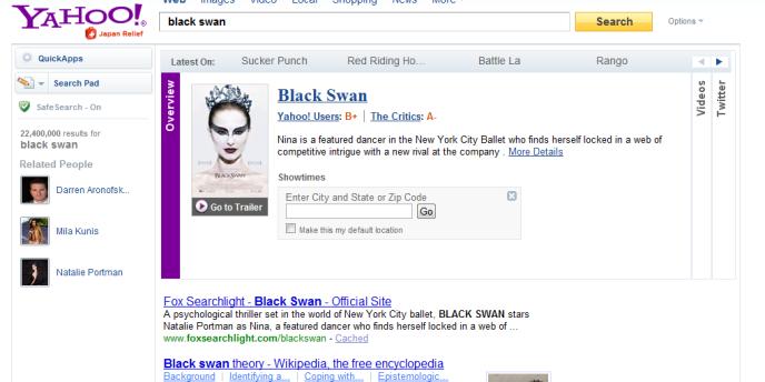 La nouvelle page de résultats de Yahoo!.