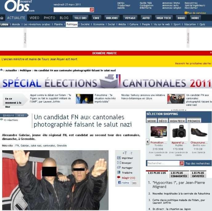 Sur le site Nouvelobs.com, photo d'Alexandre Gabriac, candidat FN aux cantonales 2011 à Grenoble.