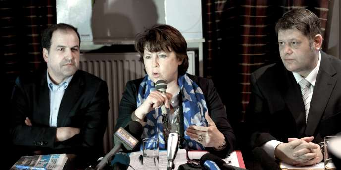 La première secrétaire du Parti socialiste, Martine Aubry, lors d'une visite à Sannois (Val-d'Oise), le 17 mars.