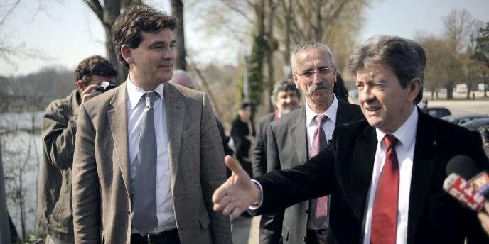 Arnaud Montebourg et Jean-Luc Mélenchon à Dole (Jura), le 24 mars 2011.
