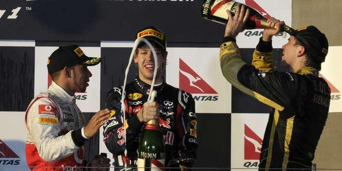 Vettel, Hamilton, Petrov : le podium du GP de Melbourne.