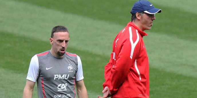 Franck Ribéry et Laurent Blanc, le 28 mars, au Stade de France.