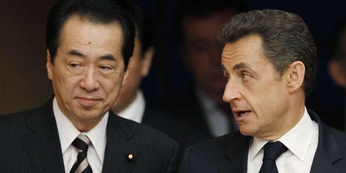 Le premier ministre japonais, Naoto Kan, et le président français, Nicolas Sarkozy, le 31 mars à Tokyo.