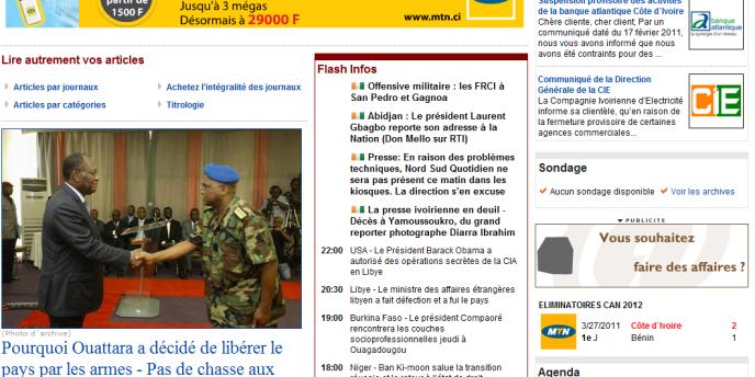 La page d'accueil d'Abidjan.net, l'un des sites menacés de blocage.