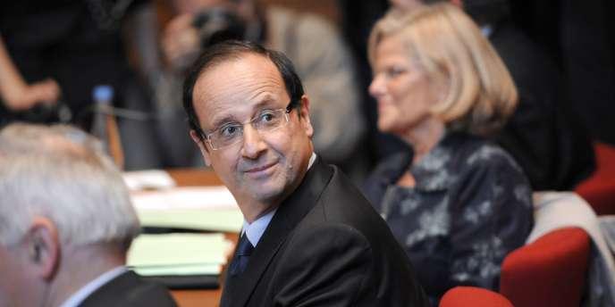 François Hollande, le 31 mars 2011, jour de l'annonce de sa candidature à la primaire du PS pour 2012.
